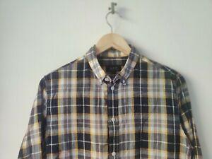 APC Check Shirt Blue Yellow Size Medium Linen Cotton