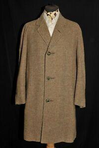 SUPERB VINTAGE MEN MERSLEY BARLEYCORN HARRIS TWEED OVER COAT 1950'S 42'' R BROWN