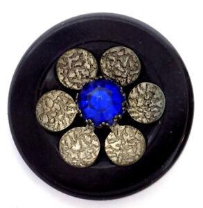 1 3/4 In Black Bakelite Flower Button Textured Aluminum Petals Blue Glass Center