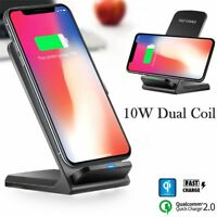 10W QC 2.0 Wireless QI Fast Charger Charging Stand Holder For iPhone X 8 Samsung