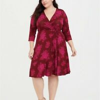 Torrid 1/2/3/4X Dress Red Floral Wrap Fit & Flare Hi Lo 3/4 Sleeves Plus Jersey