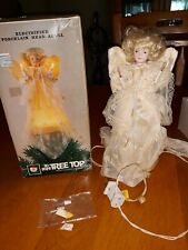 Vintage 10 Light Christmas Tree Top Electrified Porcelain Head Angel in Box
