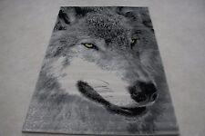 Quality Grey Wolf Rug 120cm x 170cm Black Wolf Jungle Safari Animal Print Rug