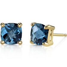 14K Yellow Gold 2 Carats London Blue Topaz Stud Earrings Cushion Cut 6 x 6 mm