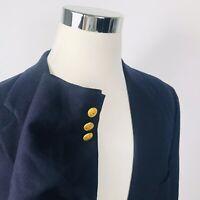 Chaps Ralph Lauren Mens 44L Blazer 100% Wool Navy Blue Gold Two Button Vented