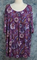 Catherines NWT Womens 3X 26/28W Purple Red Floral Leaf Scoop Neck Top