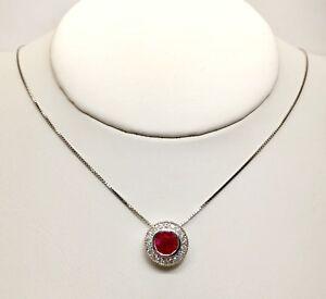 14k White Gold 1.67 TCW Diamond & Ruby Halo Pendant & Chain Necklace, SI1-2,G-H