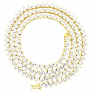 3 Prong Tennis Necklace 14K Gold Finish Lab Diamonds 1 Row 4mm Chain 20 inches