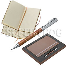 A5 Hard Cover Lined Notebook Notepad Writing Pad Ruled Hardback Wooden Pen Note