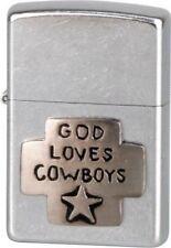 """2001 ZIPPO """"GOD LOVES COWBOYS"""" STREET CHROME EMBLEM LIGHTER ** NEW IN BOX **"""
