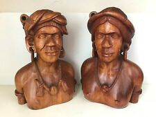 Beautiful Vintage Mid-Century Hand Carved Pair of Male and Female Balinese Busts