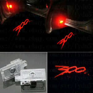 2x Red 300 Logo Ghost LED Door Shadow Projector lights For Chrysler 300 2005-19