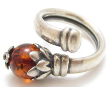 Amber Flower Beautiful Vintage Sterling Silver Wrap Ring*925*Size6-8.5+*E366