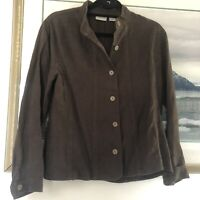 Chicos Brown 100% Linen Shirt Jacket Lagenlook Sz 1 A2236