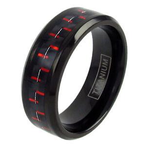 Titanium Men's Carbon Fiber Inlaid Center Band Ring Sizes 8-15 (Choose Color)