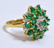 Vintage 14k Gold Snowflake Nat. Marquise Emerald Diamond Cluster Cocktail Ring !