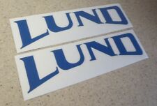 Lund Vintage Fishing Boat Decal Blue 2-PAK FREE SHIP + FREE Bass Fish Decal!