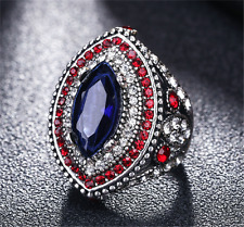 Luxurious Men's Woman Silver Inlaid Blue Stone Crystal Female Ring Size 7 8 9 10