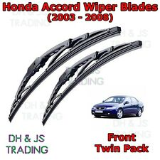 "(03-08) Honda Accord Front Windscreen Wiper Blades Wipers Set Hook Type 26"" 16"""