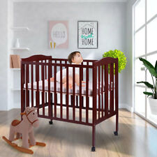 Pine Wood Baby Toddler Bed Nursery Furniture Safety Newborn Coffee Foldable