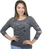 Harley-Davidson Ladies Charcoal Grey 3/4 Sleeve with Slashes Open Neck T-Shirt