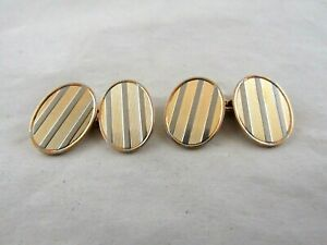 18ct. Gold  WHITE & ROSE GOLD OVAL CUFFLINKS  Marked - 18ct. Superb quality.