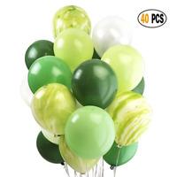"40Pc 12"" Green Pearl Latex Balloons Set for Jungle Hawaiian Birthday Party Decor"
