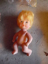 """Vintage Plastic Small Blonde Hair Character Girl Doll 3 7/8"""" Tall"""