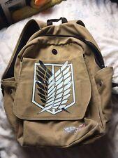 Attack on Titan SNK Shingeki no Kyojin Canvas Beige Backpack Bag Rucksack School