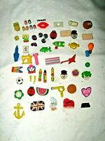 Vintage Lot of 56 Ass't 1970/80's Novelty Themed Multi Colour & Variety Erasers
