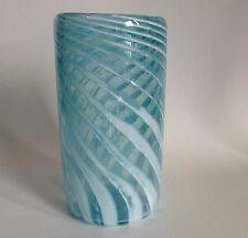 "Gorgeous Blue & White Swirl Blown Glass Cylinder Vase Artist Signed 2002 6.25"""