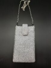 Evening Purse Cell Phone Pouch Silver Rhinestone Sparkle Bling Strap Flap NEW