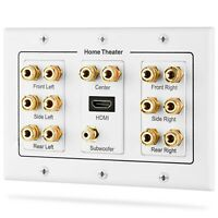 7.1 Surround Home Theater Speaker Wall Plate Banana Binding Post with HDMI Port