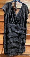 SCARLETT Womens Sz 24W Black Layered Lace Sequin Sheath Cocktail Dress Sexy #O-6