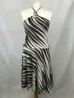 Miss Sixty ladies halter neck dress sleeveless a-line brown/cream size S 003