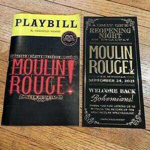 MOULIN ROUGE Broadway Sept 2021 Playbill w REOPENING Insert & Sticker! *For BAC*