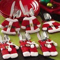 2Pc Santa Claus Christmas Cutlery Holder Bags Fork Spoon Pockets Christmas Decor