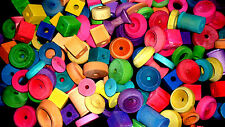 75 ASSORTED WOOD BIRD TOY PARTS  MED AND LARGE ASSORTED BIRD TOY PARTS