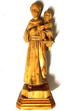 "9"" Tall Hand Carved Olive Wood St. Anthony of Padua Statue HAND CARVED Holy Land"