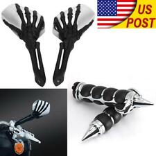 US 1'' Skull Hand Grips Mirrors For Honda Shadow Aero Phantom VLX VF VT 600 750