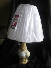 "Hand Painted Porcelain Table Lamp 26"" tall Floral Design Fully restored"