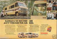 1977 2 Page Print Ad of Winnebago Elandan II RV Motor Home