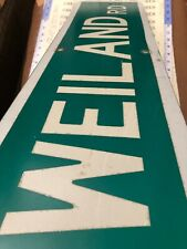 """Authentic Vintage USA Street sign reflective 30""""WX8"""" H"""" WEILAND Rd """" MADE USA"""