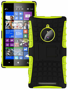 NEON LIME GREEN GRENADE GRIP SKIN HARD CASE COVER STAND FOR NOKIA LUMIA 830