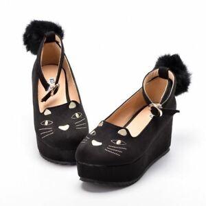 1pc Girls Cat Pattern Black Wedge Heel High Platform PU Shoes Lolita Cosplay