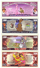 ONE MILLION DOLLARS TOONS SET DE 4 BILLETS (LOT 1)