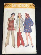 1972 SIMPLICITY 5368 MATERNITY Mini SMOCK DRESS Pants Sz 14 Bst36 Uncut Pattern