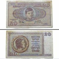 1936 Kingdom of Yugoslavia 20 Dinara Vintage Banknote Paper Money
