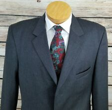 Linea Uomo 3 Button Sport Coat Blazer Suit Jacket Mens 46L Charcoal Grey Wool