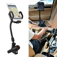 3 IN 1 Universal Car Holder 360° Adjustable Mount Dual USB Car Charger for Phone